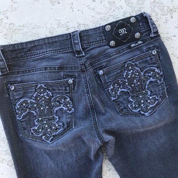 Miss Me Denim - MISS ME Fleur de Lis Sparkle Black Wash Jeans 29